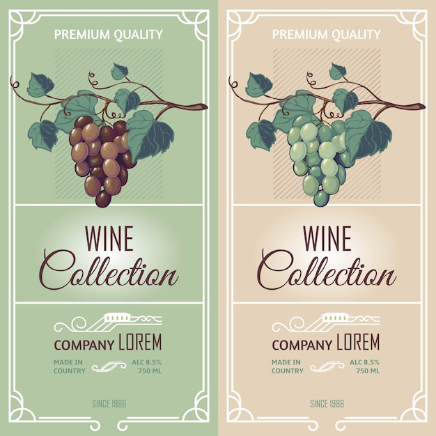 Vertical banners with wine labels Free Vector