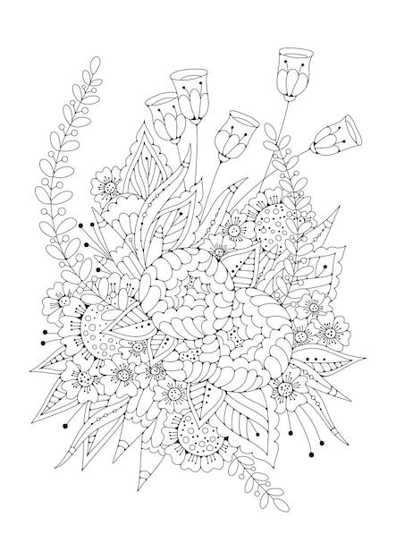 着色のための垂直の黒と白の背景。花のページの塗り絵。 Premiumベクター