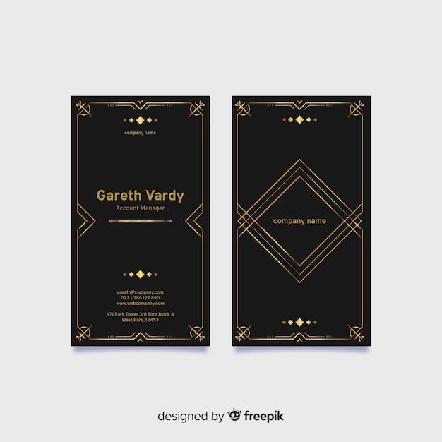 Vertical black elegant business card Free Vector