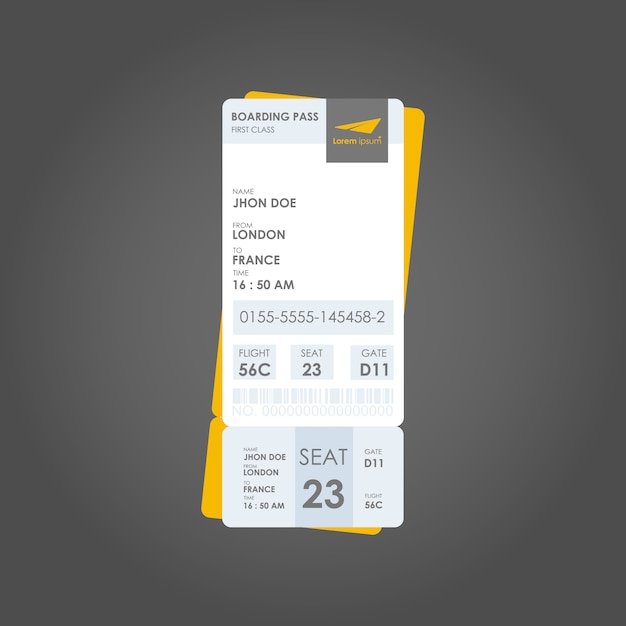 vertical boarding pass template vector free download