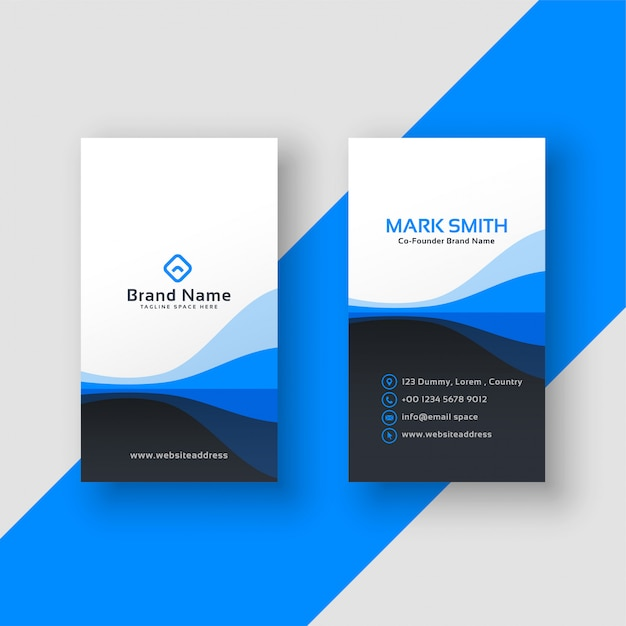 Vertical business card blue template vector free download vertical business card blue template free vector cheaphphosting Choice Image