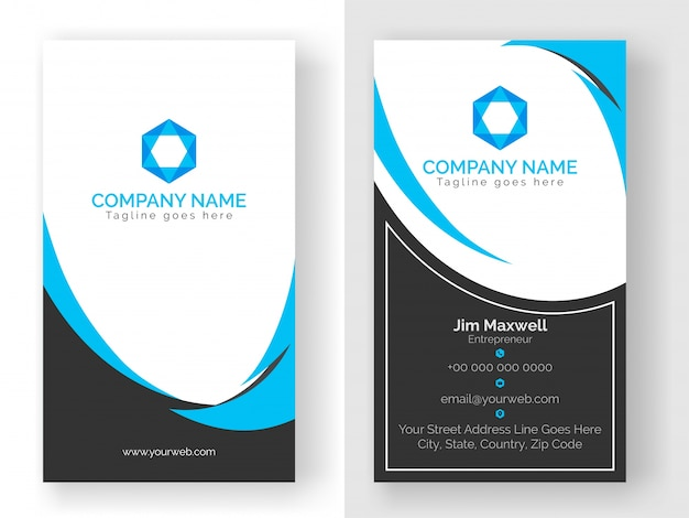 Vertical business card design in blue and grey color vector vertical business card design in blue and grey color premium vector reheart Gallery
