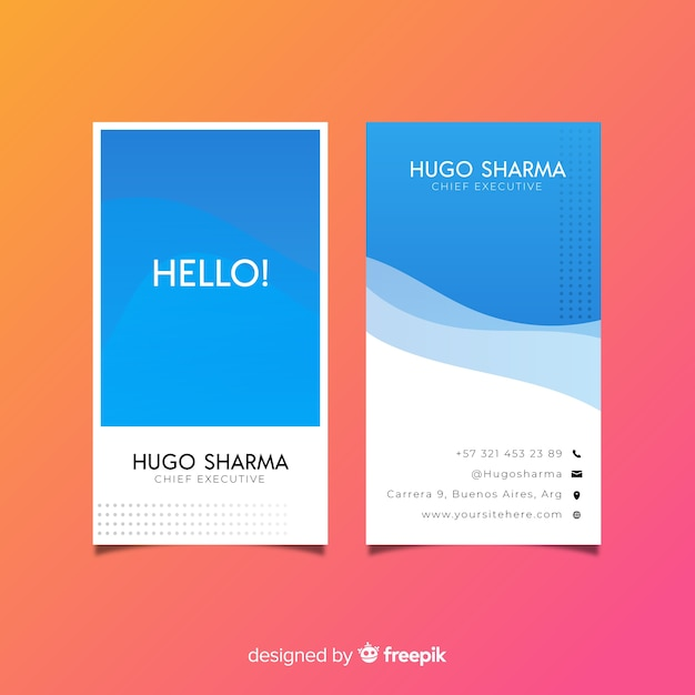 Vertical business card template, front and back design Free Vector