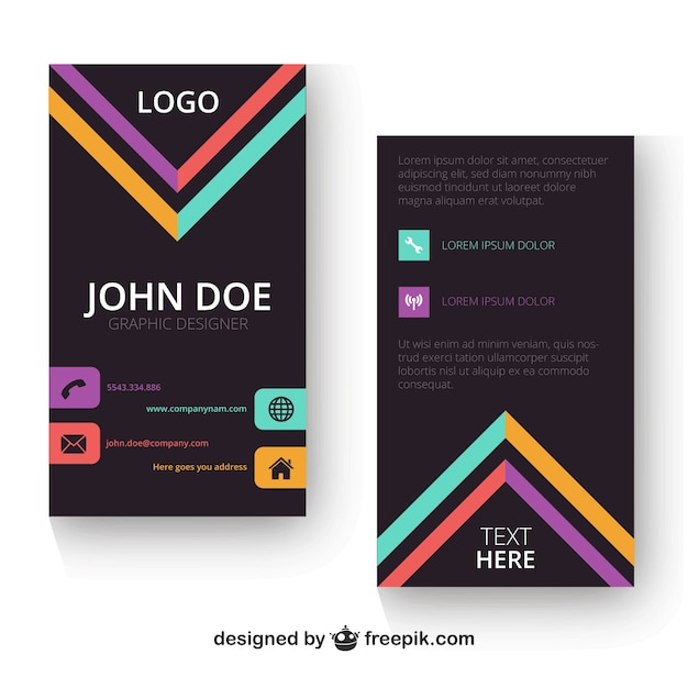 Vertical Business Card Template Vector Free Download - Portrait business card template