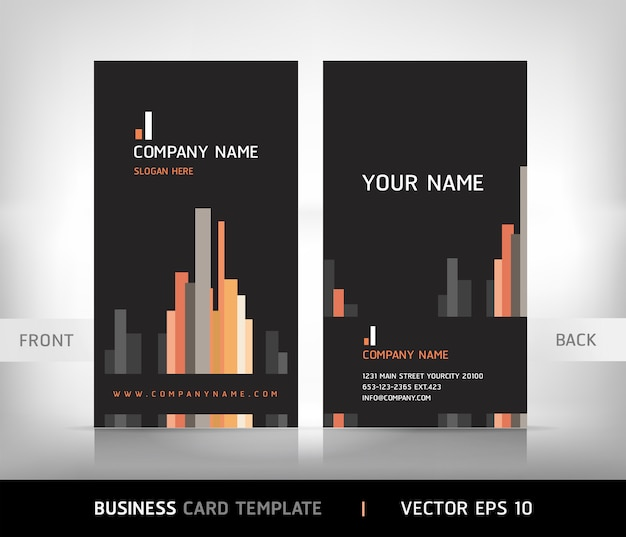 Vertical business card template Premium Vector