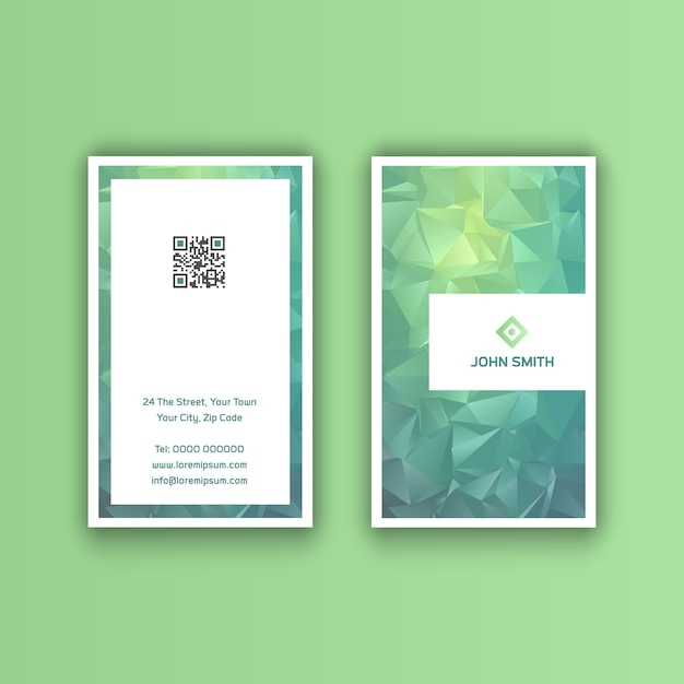 Vertical business card with a low poly design Premium Vector