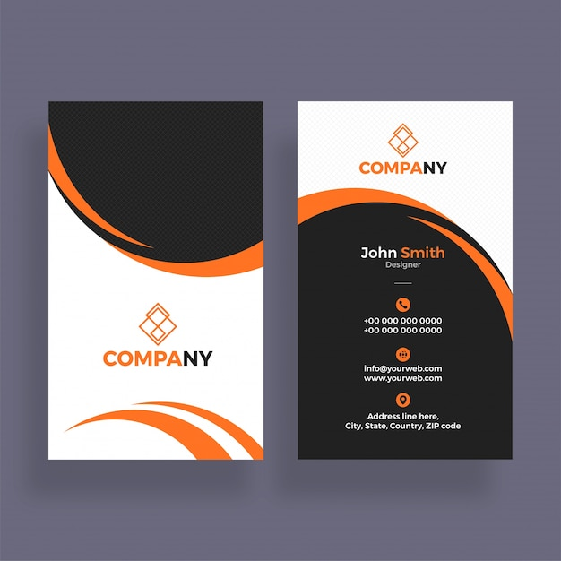 Vertical business cards in orange grey and white colors vector vertical business cards in orange grey and white colors premium vector reheart Gallery