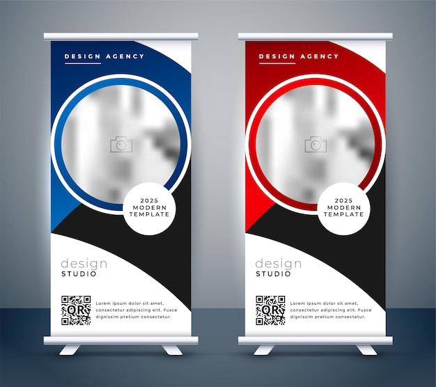 Vertical business roll up banner design template Free Vector