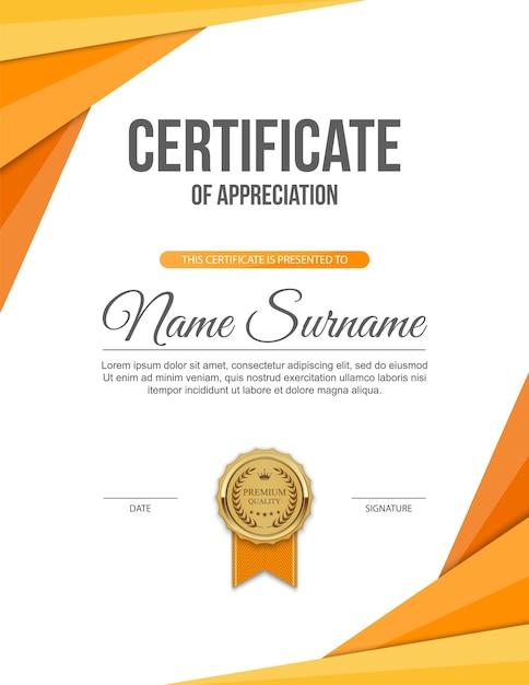 Vertical Certificate Template Design With Golden Medal Vector