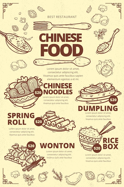 Free Vector Vertical Chinese Food Menu Template