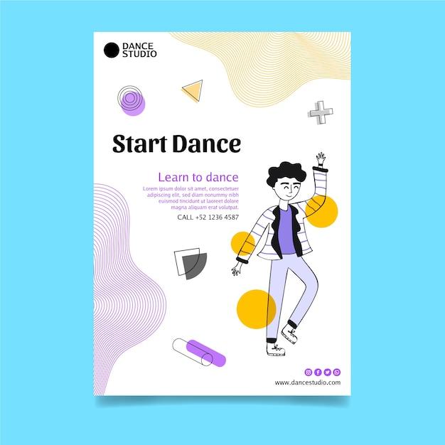 수직 춤 포스터 템플릿 무료 벡터