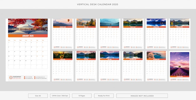 Vertical desk calendar 2020 Premium Vector