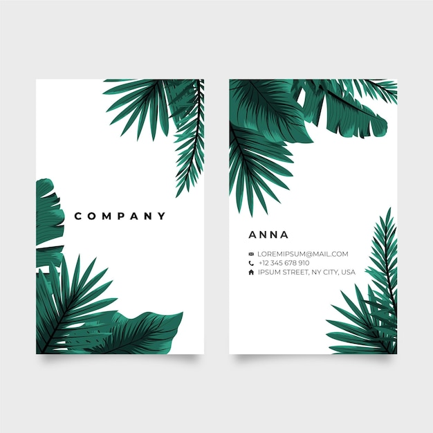 Vertical double-sided business card with tropical leaves Free Vector
