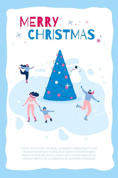 Vertical flat banner marry christmas in blue frame Premium Vector