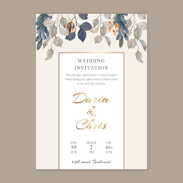 Vertical floral wedding card template Free Vector