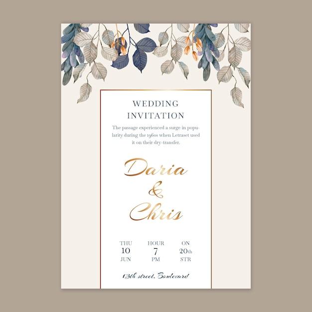 Modello di carta di nozze floreale verticale Vettore gratuito