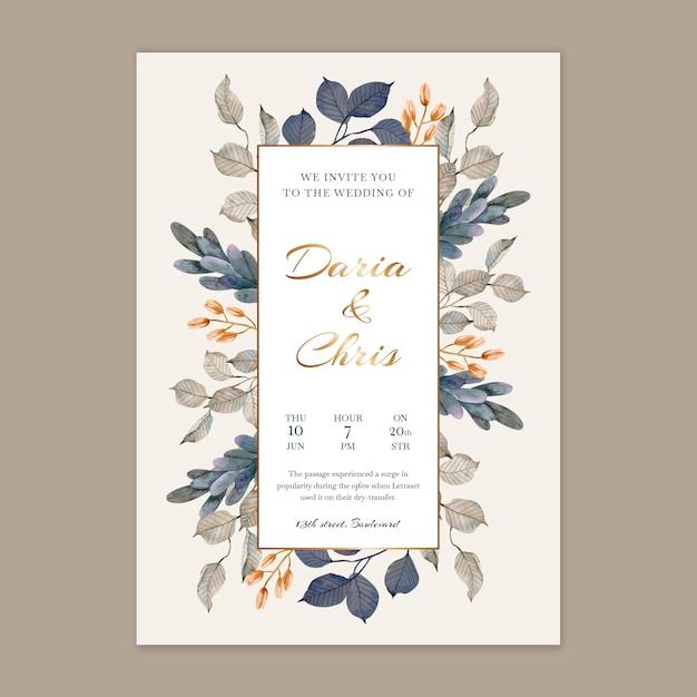 Partecipazione di nozze floreale verticale Vettore gratuito