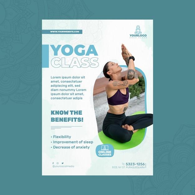 Вертикальный шаблон флаера для практики йоги с женщиной Бесплатные векторы
