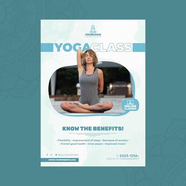 Вертикальный шаблон флаера для практики йоги Бесплатные векторы