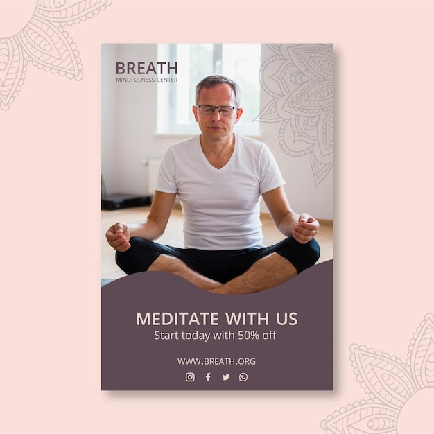 Modello di volantino verticale per meditazione e consapevolezza Vettore gratuito