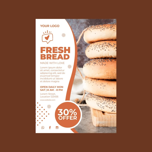 Vertical flyer template for pastry shop Premium Vector
