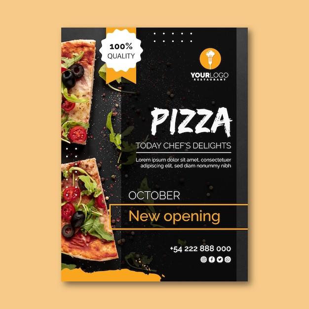 Vertical flyer template for pizza restaurant Premium Vector
