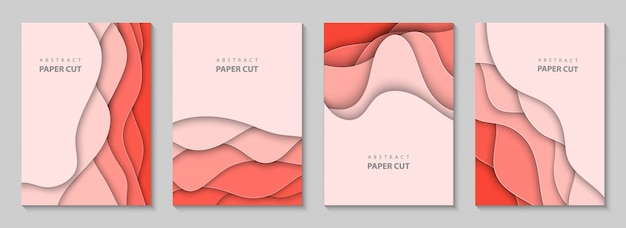 Vertical flyers with coral paper cut Premium Vector