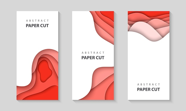 Vertical flyers with pastel coral paper cut Premium Vector