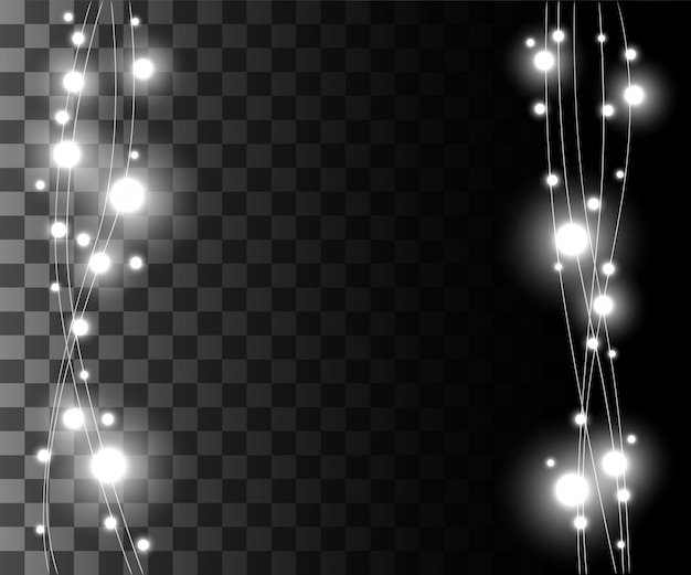 Vertical glowing light silver bulbs  for holidays garlands christmas decorations effect  on the transparent background website page game and mobile app design Premium Vector