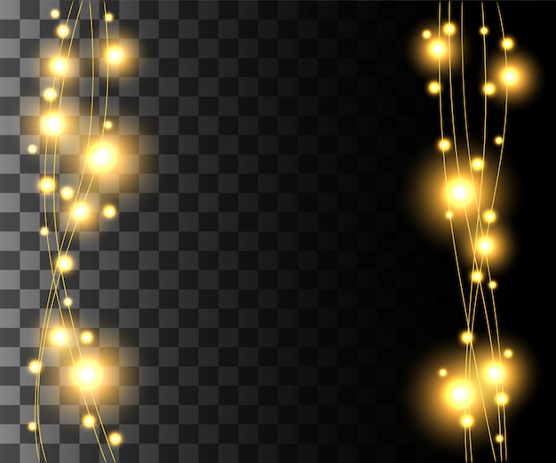 Vertical glowing light yellow bulbs  for holidays garlands christmas decorations effect  on the transparent background website page game and mobile app design Premium Vector