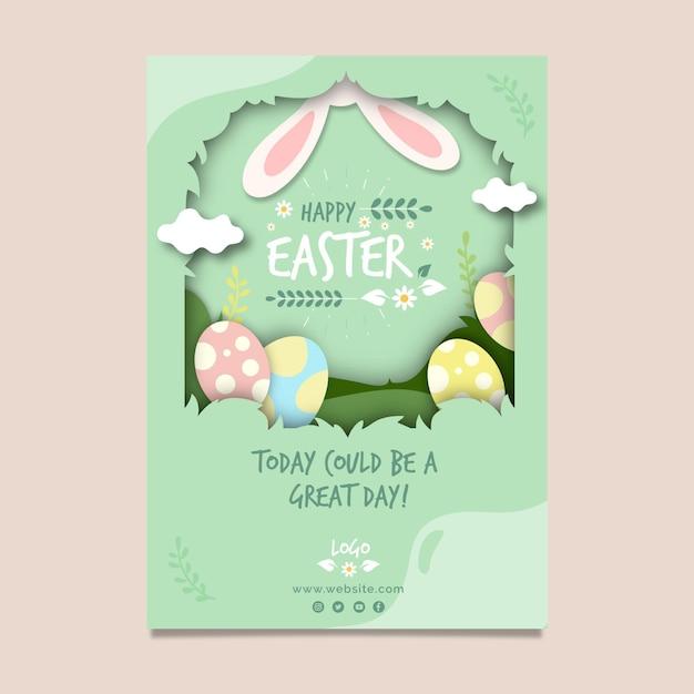 Вертикальный шаблон поздравительной открытки на пасху с яйцами и кроличьими ушками Бесплатные векторы