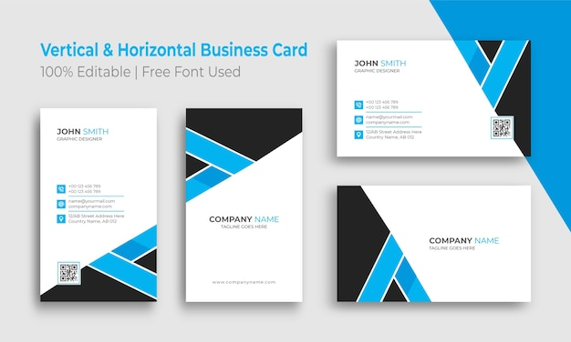 Vertical and horizontal minimalist business card template Premium Vector