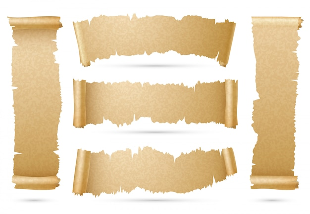 Vertical and horizontal old paper scroll ribbon banners Vector