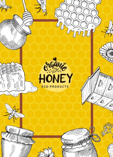 Vertical illustration or flyer template with hand drawn honey elements for honey farm or shop with logo and frame on honeycombs background Premium Vector