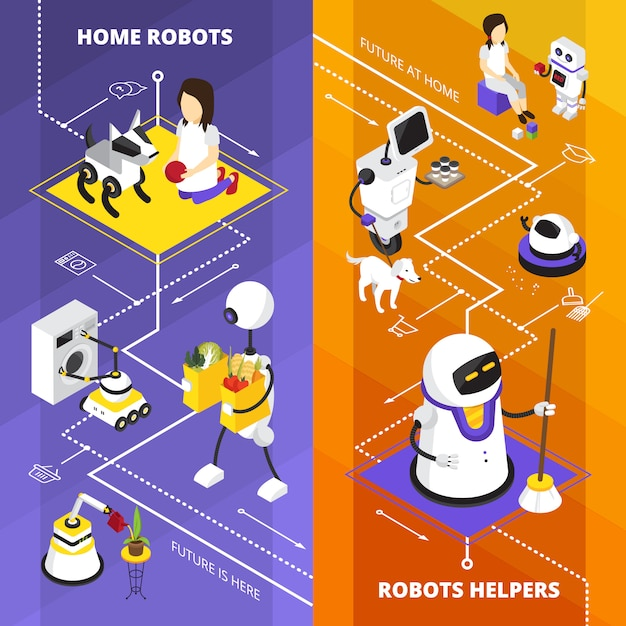 Vertical isometric banners with robots helpers Free Vector