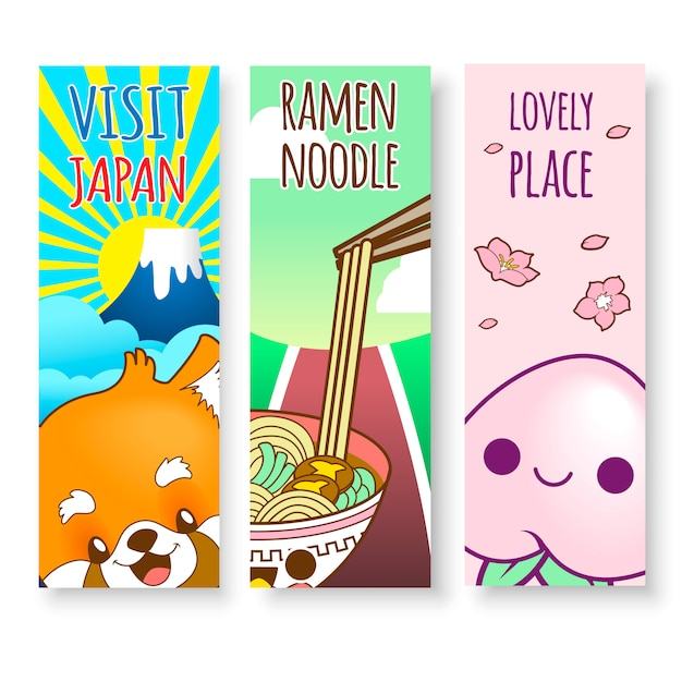 Vertical japan illustrations of ramen noodle, food and mountain Premium Vector