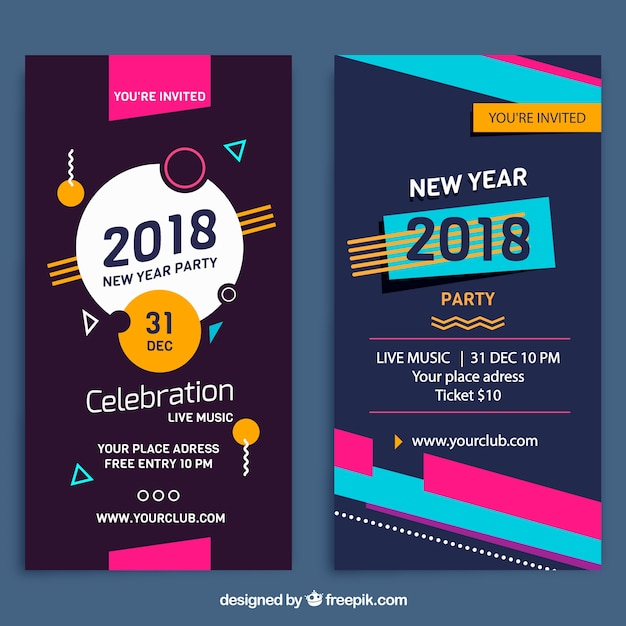 vertical memphis new year 2018 party banners free vector