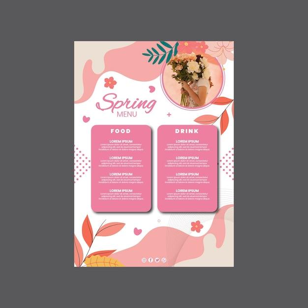 Modello di menu verticale per la festa di primavera con donna e fiori Vettore gratuito