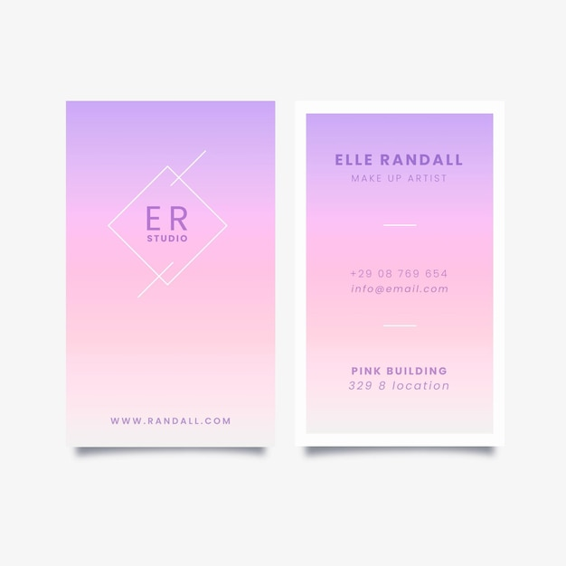 Vertical pastel gradient business cards set Free Vector