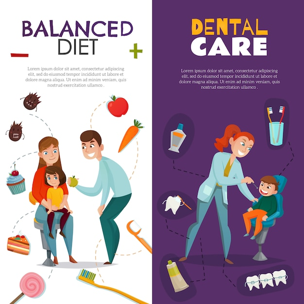 Vertical pediatric dentistry with balanced diet and dental care descriptions Free Vector