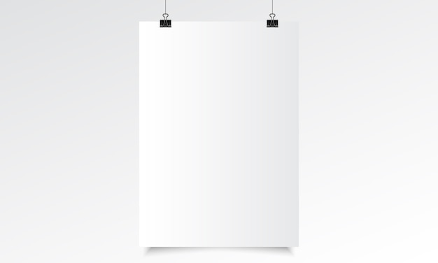 Vertical poster realistic mock up with hanging. blank paper realistic vector with hanging Premium Vector