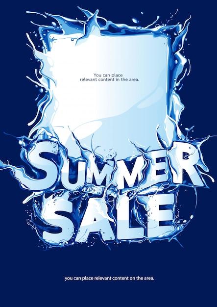 Vertical poster summer sale on dark blue background Premium Vector