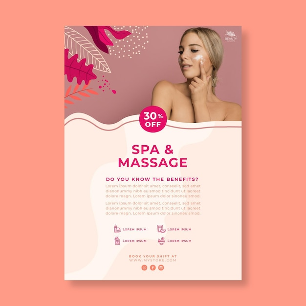 Vertical poster template for beauty salon Free Vector