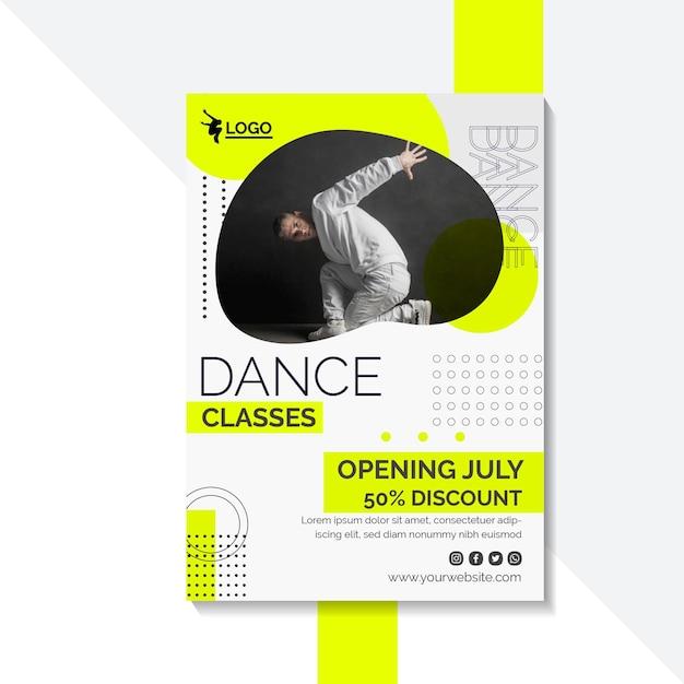 남성 연기자와 댄스 레슨을위한 세로 포스터 템플릿 무료 벡터