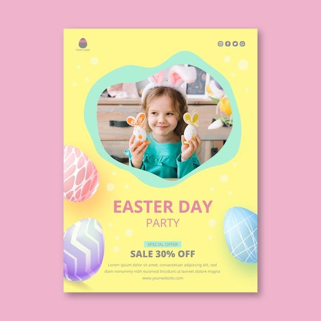 부활절 달걀과 어린 소녀를위한 수직 포스터 템플릿 프리미엄 벡터
