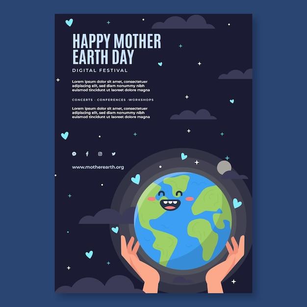 母なる地球デーのお祝いのための垂直ポスターテンプレート 無料ベクター