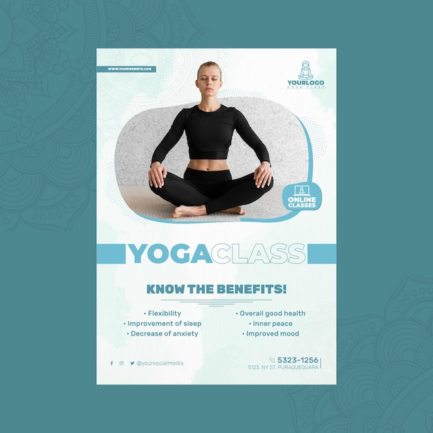 Вертикальный шаблон плаката для практики йоги Бесплатные векторы