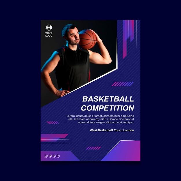 Modello di poster verticale con giocatore di basket maschile Vettore gratuito