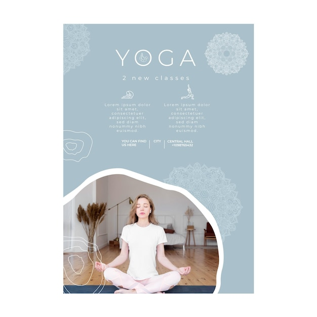 Vertical poster template for yoga practicing Free Vector