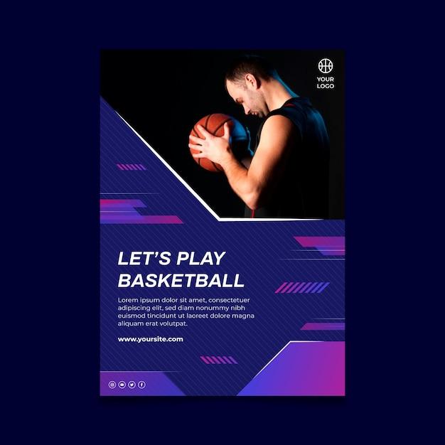 Poster verticale con giocatore di basket maschile Vettore gratuito